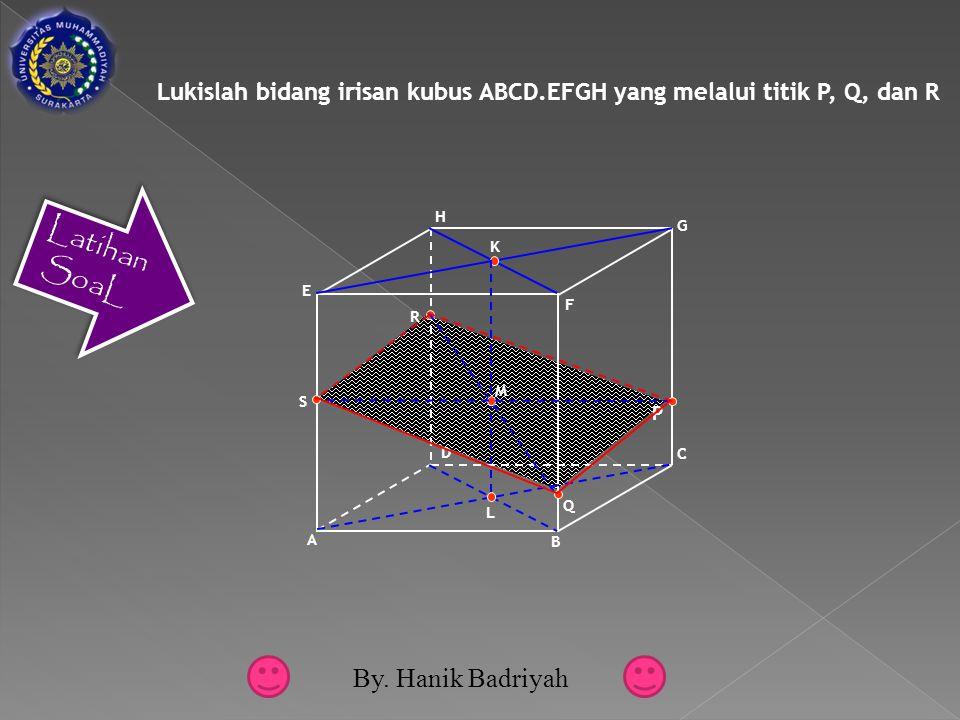 Lukislah bidang irisan kubus ABCD.EFGH yang melalui titik P, Q, dan R A B C D E F G H P Q R K L M S By.