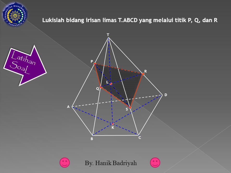 Lukislah bidang irisan limas T.ABCD yang melalui titik P, Q, dan R B C D A T R Q P S K L Latihan SoaL By.