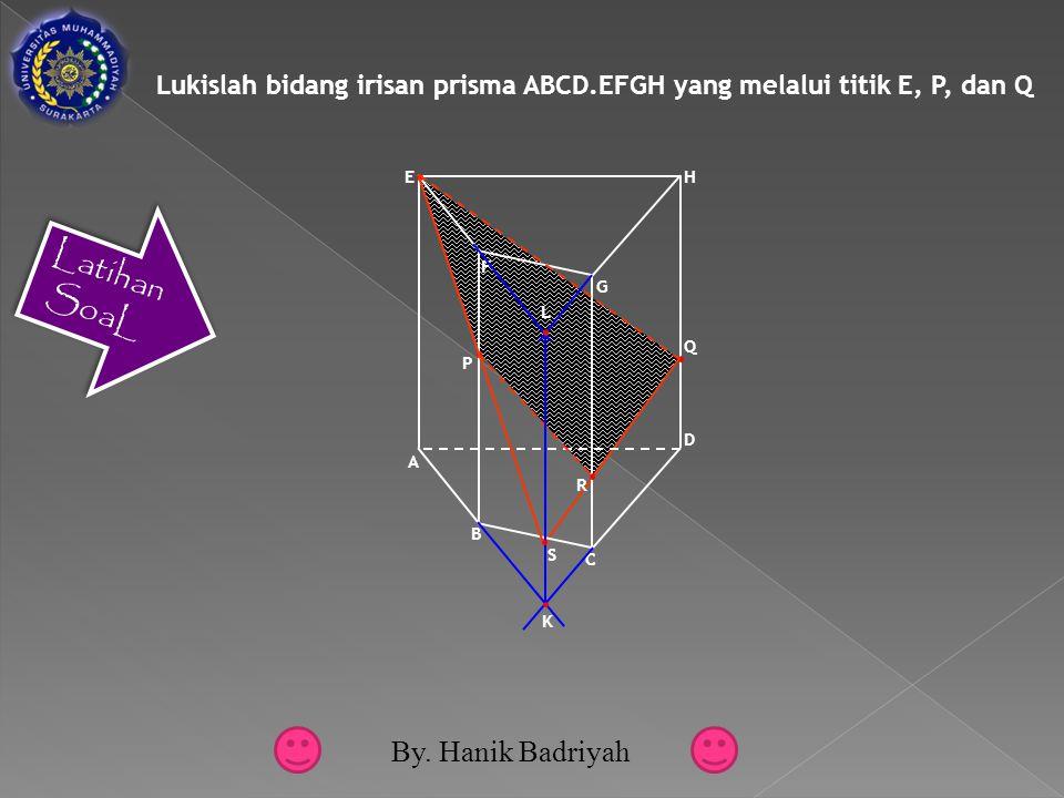 Lukislah bidang irisan prisma ABCD.EFGH yang melalui titik E, P, dan Q F G A E D B C H Q P R K L S By.
