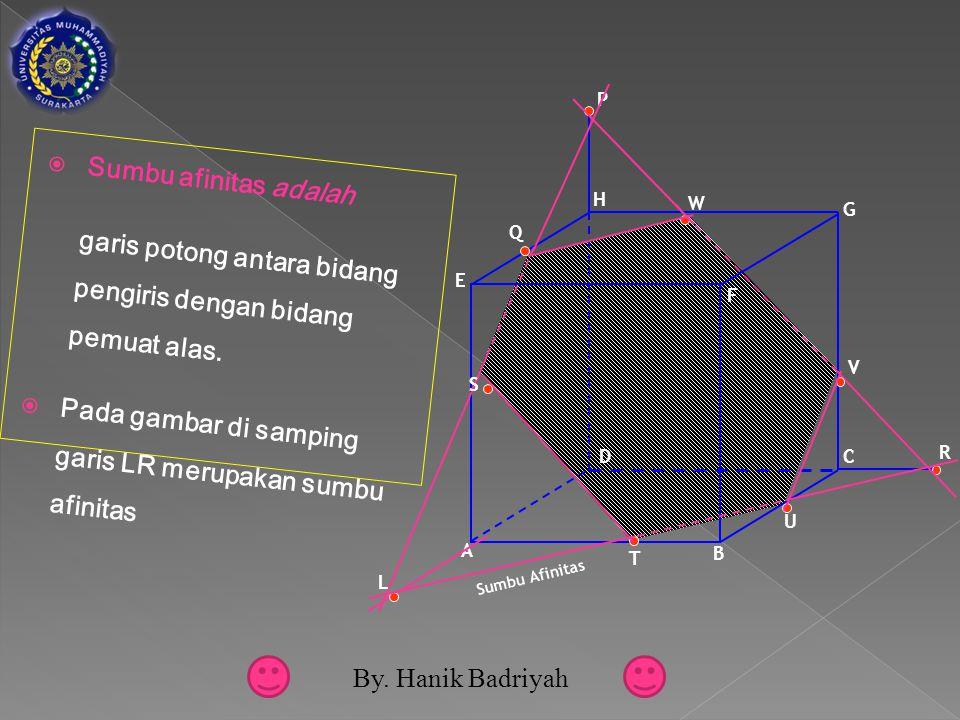  Sumbu afinitas adalah garis potong antara bidang pengiris dengan bidang pemuat alas.