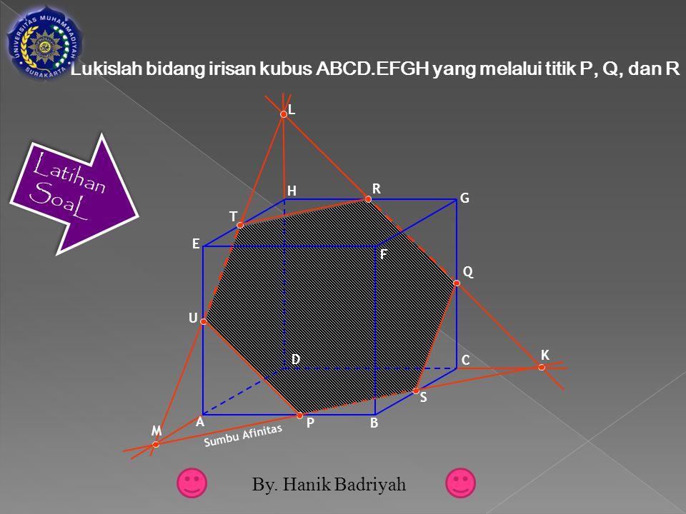 F D A B C E G H P Q R K L S M T U Sumbu Afinitas Lukislah bidang irisan kubus ABCD.EFGH yang melalui titik P, Q, dan R By.