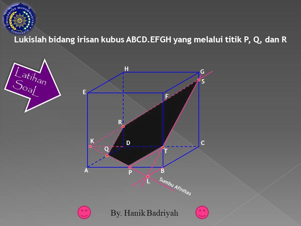 Lukislah bidang irisan kubus ABCD.EFGH yang melalui titik P, Q, dan R Latihan SoaL F D A B C E G H P Q R K S T L Sumbu Afinitas By.