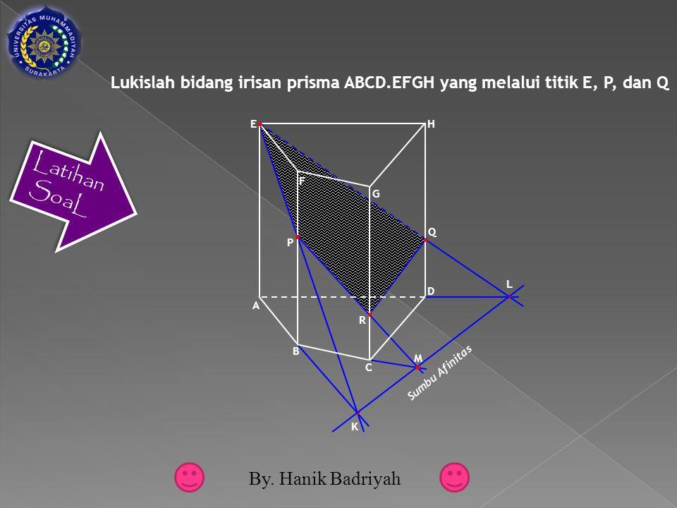 Lukislah bidang irisan prisma ABCD.EFGH yang melalui titik E, P, dan Q K L Sumbu Afinitas M F G A E D B C H Q P R Latihan SoaL By.