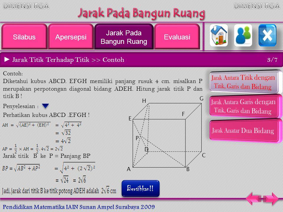 ► Jarak Titik Terhadap Titik 2/7 A B x y C Jarak titik A ke titik B dalam suatu ruang dapat digambarkan dengan cara menghubungkan titik A dan titik B