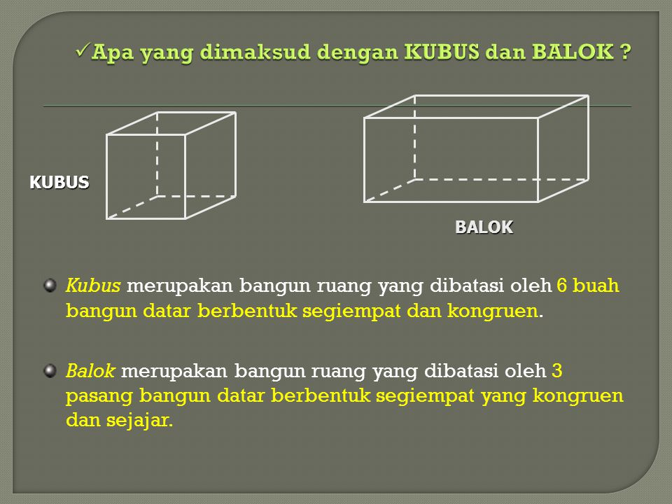 Kubus merupakan bangun ruang yang dibatasi oleh 6 buah bangun datar berbentuk segiempat dan kongruen. Balok merupakan bangun ruang yang dibatasi oleh