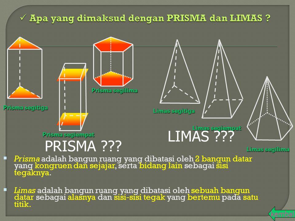  Prisma adalah bangun ruang yang dibatasi oleh 2 bangun datar yang kongruen dan sejajar, serta bidang lain sebagai sisi tegaknya.  Limas adalah bang