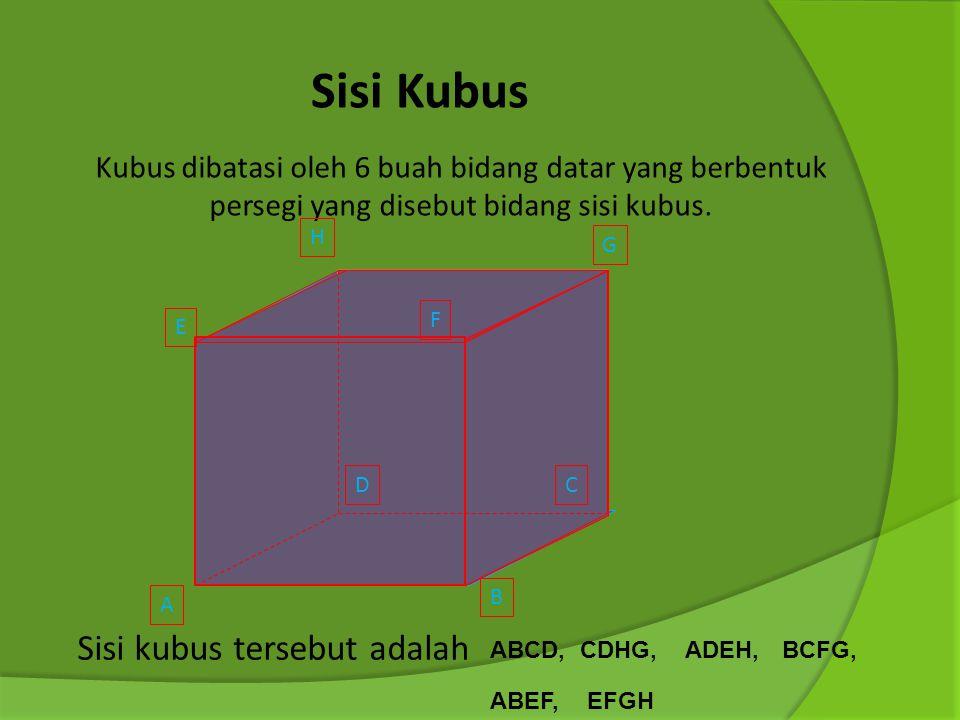 Definisi Kubus Kubus adalah sebuah benda ruang yang dibatasi oleh 6 bidang datar yang masing- masing berbentuk persegi yang sama dan sebangun atau kon