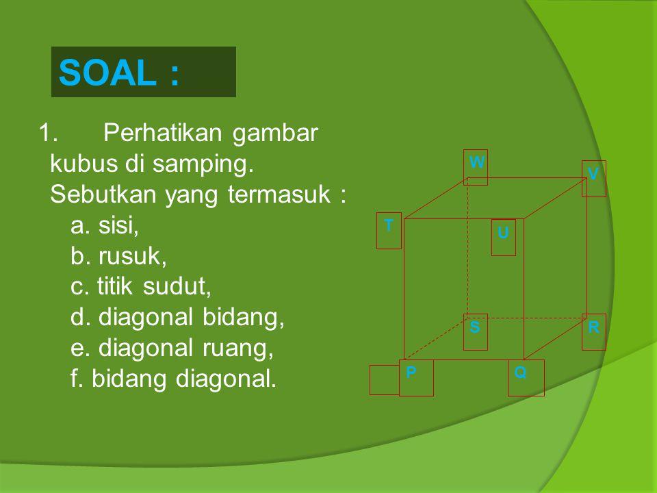  Bagian-bagian/Unsur-unsur Bangun Ruang 1. Sisi 2. Rusuk 3. Titik Sudut 4. Diagonal Ruang 5. Diagonal Sisi/Diagonal Bidang 6. Bidang Diagonal