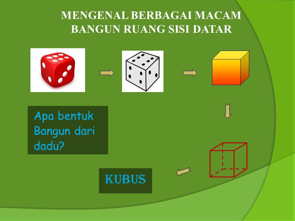 Tujuan Pembelajaran : Siswa mampu menyebutkan unsur- unsur kubus yaitu rusuk, bidang sisi, diagonal bidang, diagonal ruang, dan bidang diagonal.
