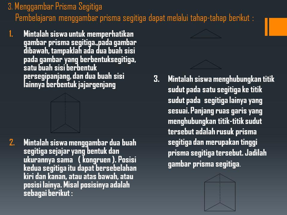 3. Menggambar Prisma Segitiga Pembelajaran menggambar prisma segitiga dapat melalui tahap-tahap berikut : 1.Mintalah siswa untuk memperhatikan gambar