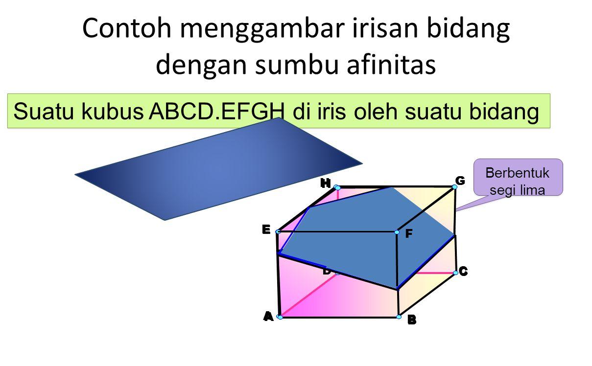 Contoh menggambar irisan bidang dengan sumbu afinitas H A E G D B C Berbentuk segi lima Berbentuk segi lima Suatu kubus ABCD.EFGH di iris oleh suatu b