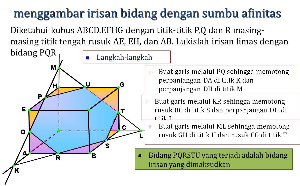 H A E G F D menggambar irisan bidang dengan sumbu afinitas Diketahui kubus ABCD.EFHG dengan titik-titik P,Q dan R masing- masing titik tengah rusuk AE