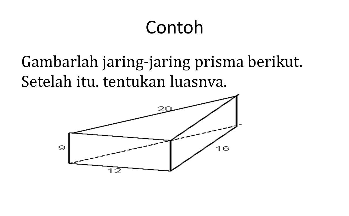 Contoh Gambarlah jaring-jaring prisma berikut. Setelah itu, tentukan luasnya.