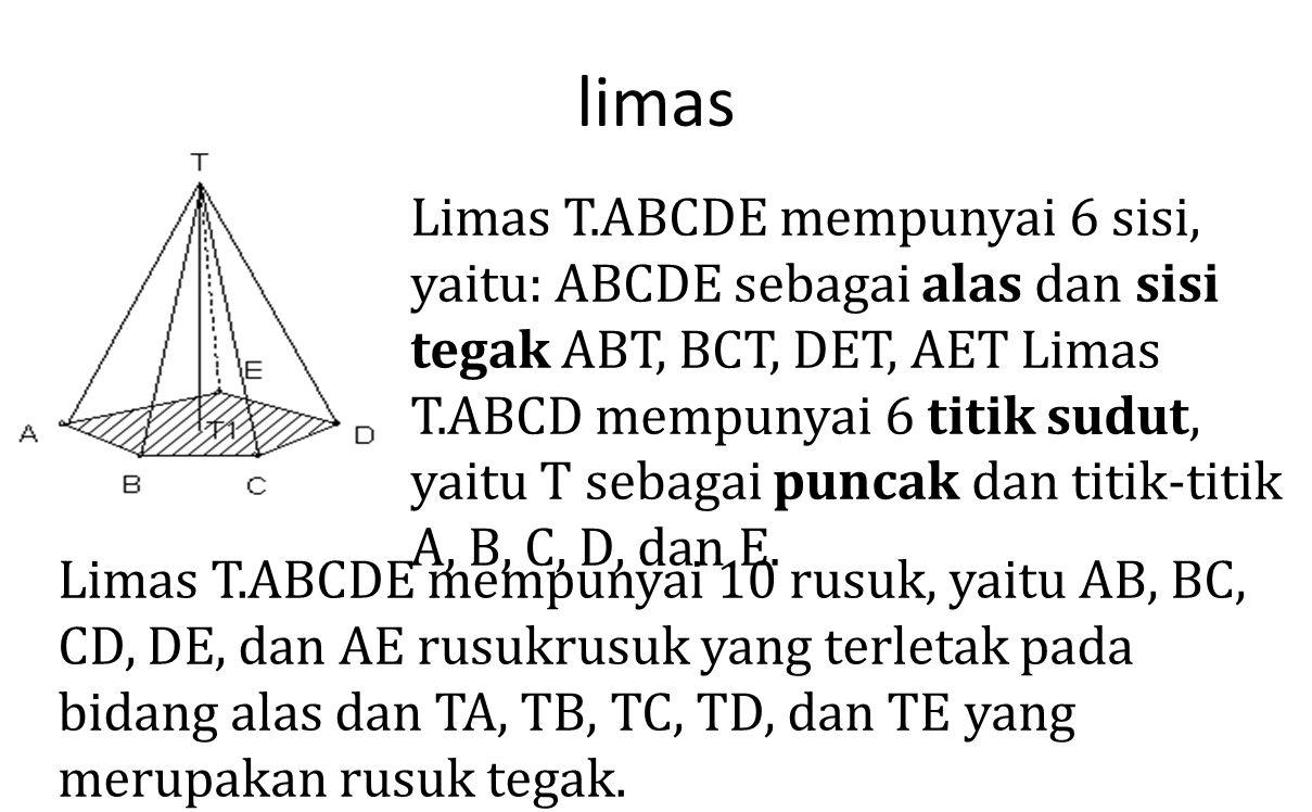 limas Limas T.ABCDE mempunyai 6 sisi, yaitu: ABCDE sebagai alas dan sisi tegak ABT, BCT, DET, AET Limas T.ABCD mempunyai 6 titik sudut, yaitu T sebaga