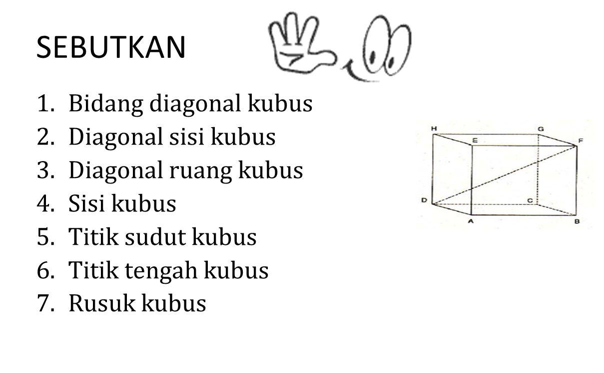 SEBUTKAN 1.Bidang diagonal kubus 2.Diagonal sisi kubus 3.Diagonal ruang kubus 4.Sisi kubus 5.Titik sudut kubus 6.Titik tengah kubus 7.Rusuk kubus