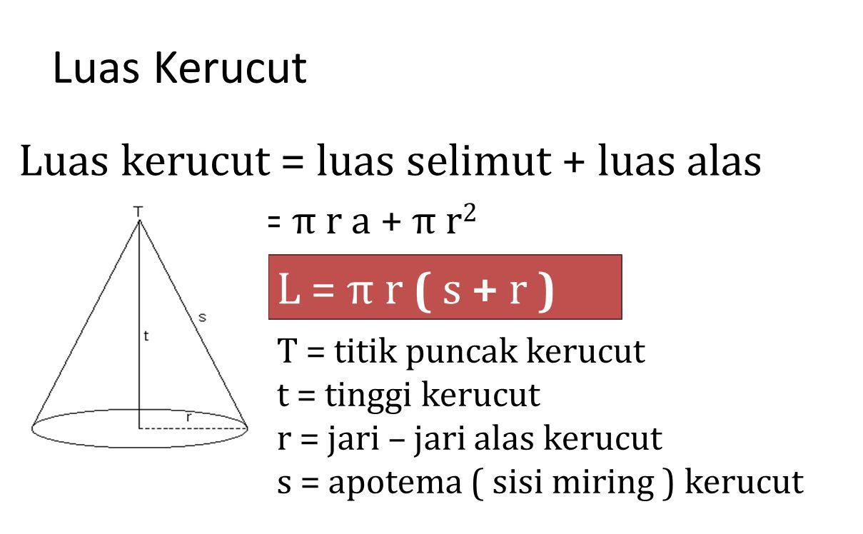 Luas Kerucut Luas kerucut = luas selimut + luas alas L = π r a + π r 2 L = π r ( s + r ) T = titik puncak kerucut t = tinggi kerucut r = jari – jari a