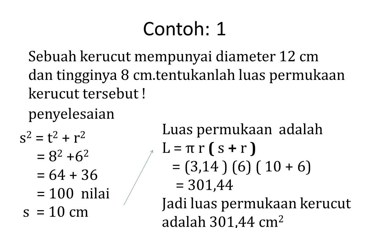 Contoh: 1 Sebuah kerucut mempunyai diameter 12 cm dan tingginya 8 cm.tentukanlah luas permukaan kerucut tersebut ! penyelesaian s 2 = t 2 + r 2 = 8 2