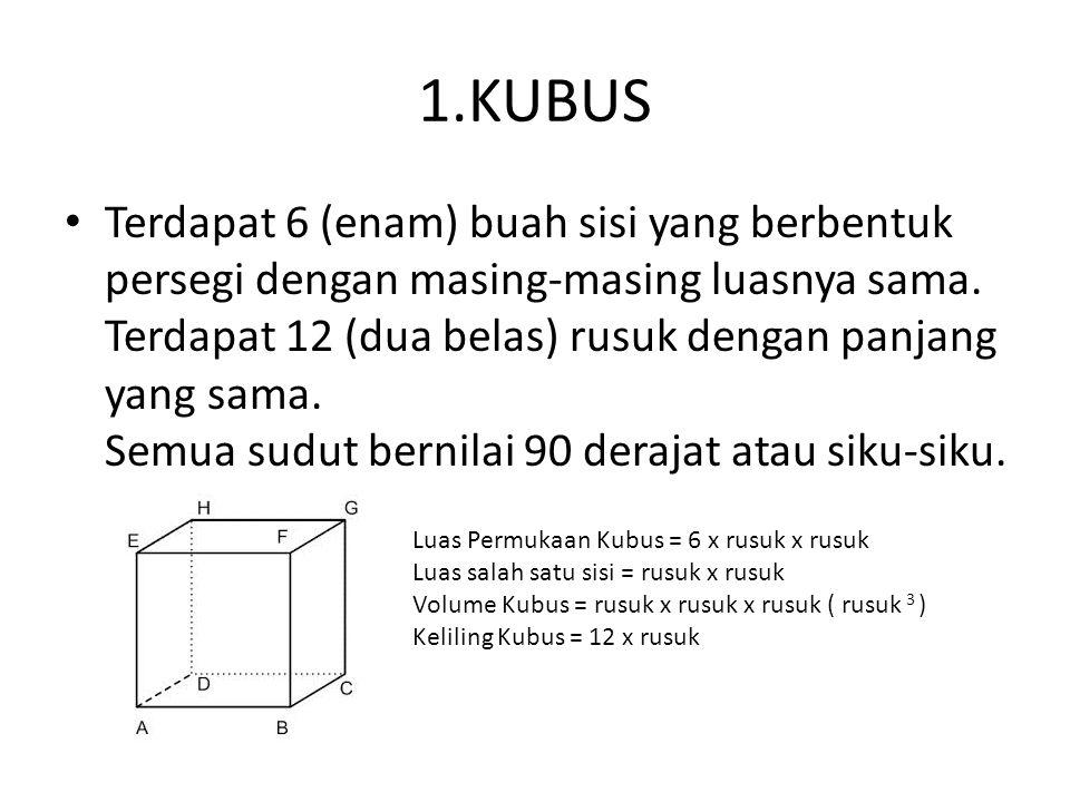 1.KUBUS Terdapat 6 (enam) buah sisi yang berbentuk persegi dengan masing-masing luasnya sama. Terdapat 12 (dua belas) rusuk dengan panjang yang sama.