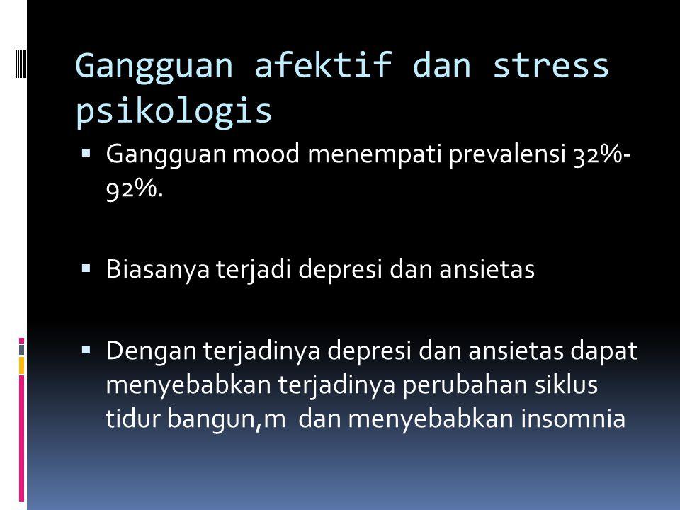 Gangguan afektif dan stress psikologis  Gangguan mood menempati prevalensi 32%- 92%.