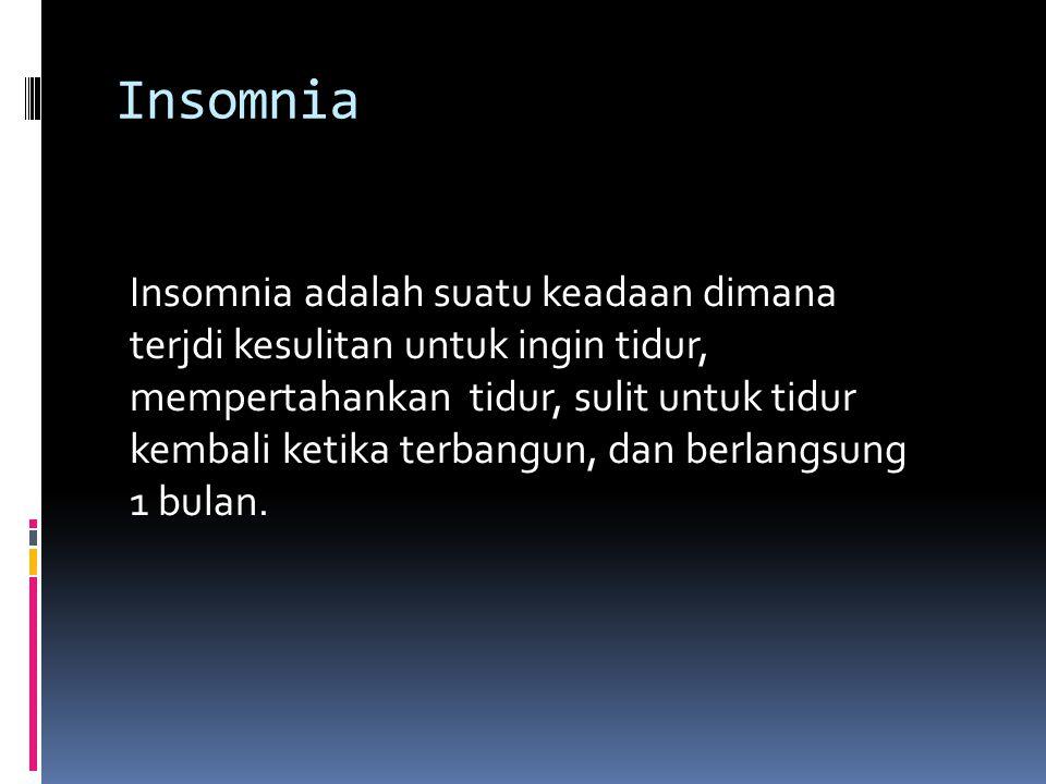  Pada pasien dementia, prevalensi insomnia antara 20%-35%.