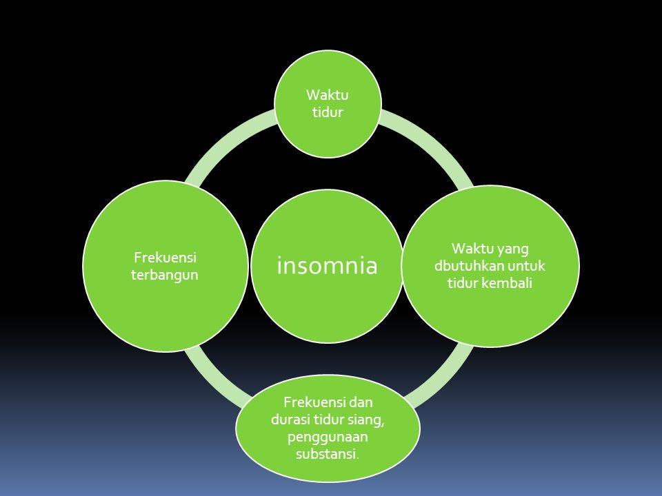 insomnia Waktu tidur Waktu yang dbutuhkan untuk tidur kembali Frekuensi dan durasi tidur siang, penggunaan substansi.