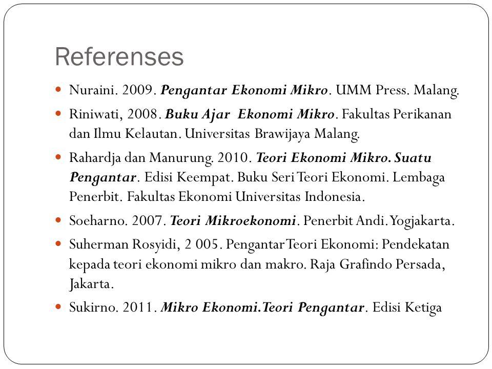 Referenses Nuraini. 2009. Pengantar Ekonomi Mikro. UMM Press. Malang. Riniwati, 2008. Buku Ajar Ekonomi Mikro. Fakultas Perikanan dan Ilmu Kelautan. U