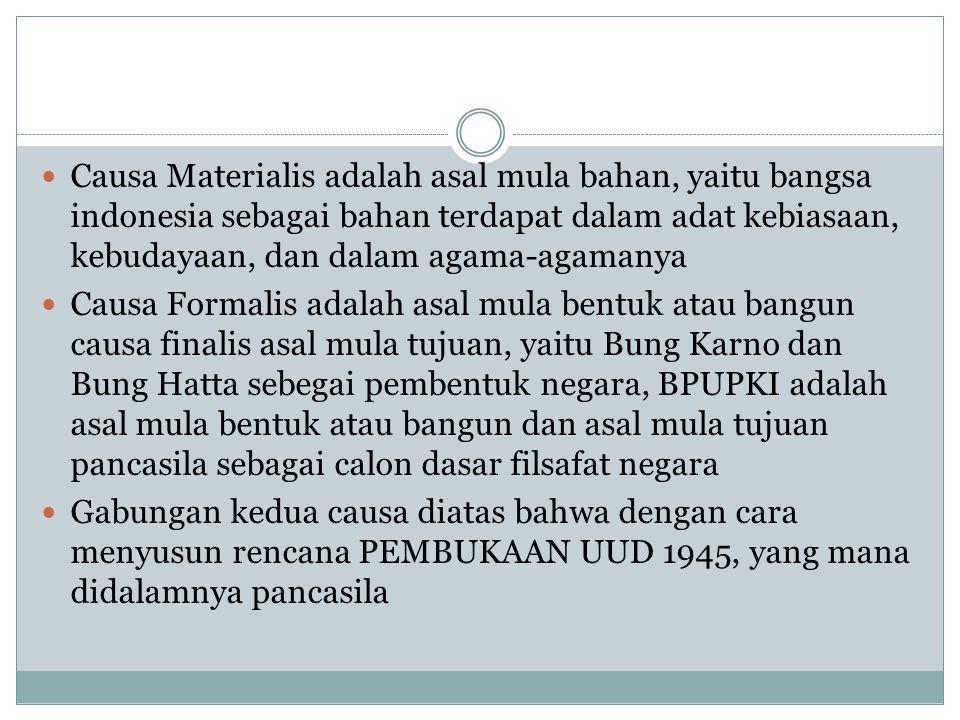 Causa Materialis adalah asal mula bahan, yaitu bangsa indonesia sebagai bahan terdapat dalam adat kebiasaan, kebudayaan, dan dalam agama-agamanya Caus