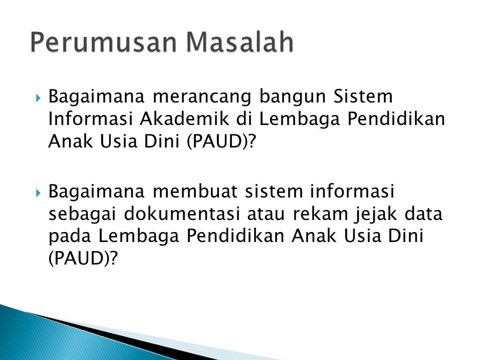  Bagaimana merancang bangun Sistem Informasi Akademik di Lembaga Pendidikan Anak Usia Dini (PAUD).