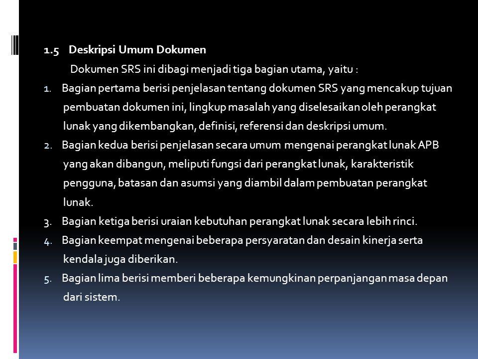 1.5 Deskripsi Umum Dokumen Dokumen SRS ini dibagi menjadi tiga bagian utama, yaitu : 1. Bagian pertama berisi penjelasan tentang dokumen SRS yang menc
