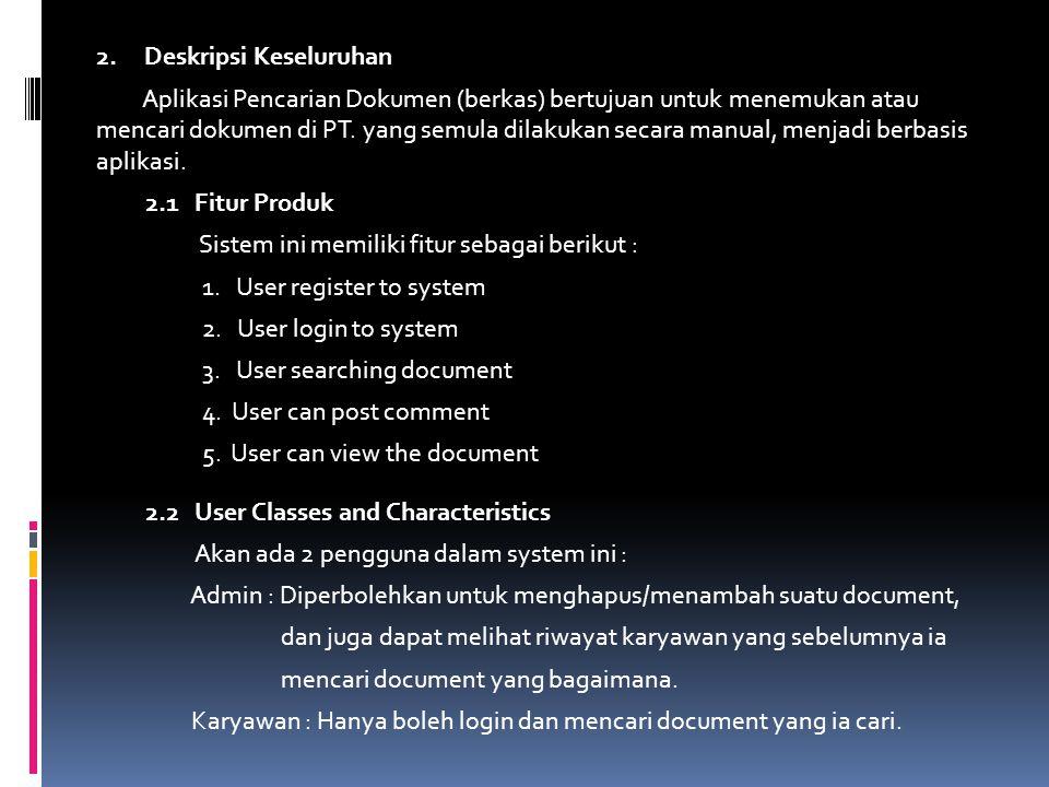2. Deskripsi Keseluruhan Aplikasi Pencarian Dokumen (berkas) bertujuan untuk menemukan atau mencari dokumen di PT. yang semula dilakukan secara manual