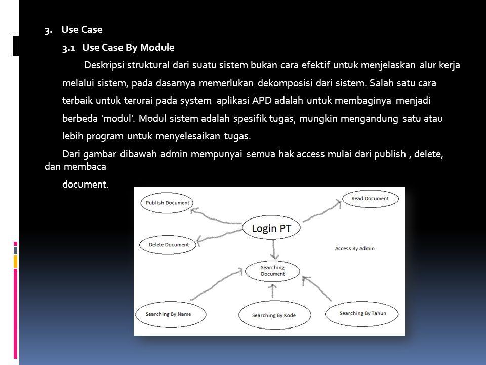 3. Use Case 3.1 Use Case By Module Deskripsi struktural dari suatu sistem bukan cara efektif untuk menjelaskan alur kerja melalui sistem, pada dasarny