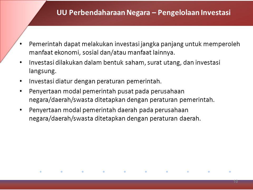 Pemerintah dapat melakukan investasi jangka panjang untuk memperoleh manfaat ekonomi, sosial dan/atau manfaat lainnya.
