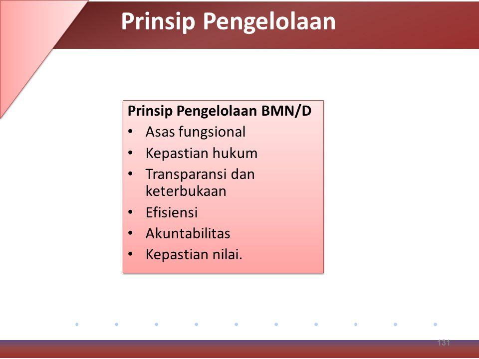 Prinsip Pengelolaan BMN/D Asas fungsional Kepastian hukum Transparansi dan keterbukaan Efisiensi Akuntabilitas Kepastian nilai.
