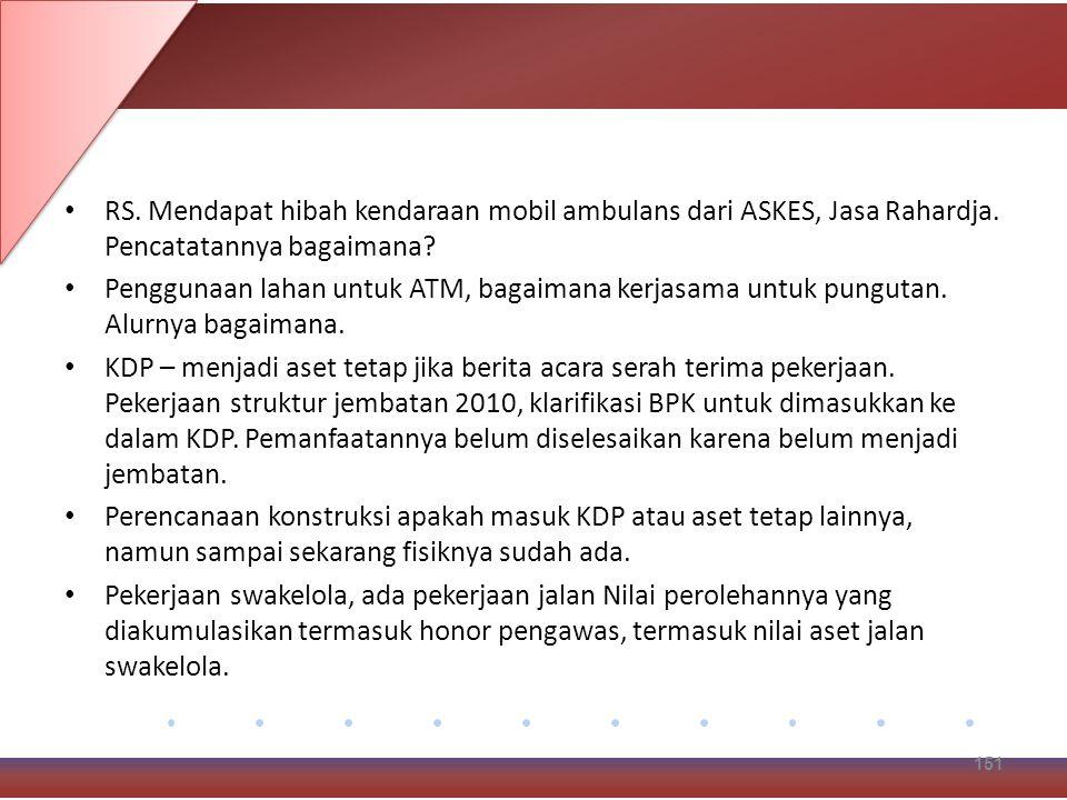 RS.Mendapat hibah kendaraan mobil ambulans dari ASKES, Jasa Rahardja.