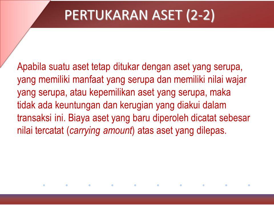 PERTUKARAN ASET (2-2) Apabila suatu aset tetap ditukar dengan aset yang serupa, yang memiliki manfaat yang serupa dan memiliki nilai wajar yang serupa, atau kepemilikan aset yang serupa, maka tidak ada keuntungan dan kerugian yang diakui dalam transaksi ini.
