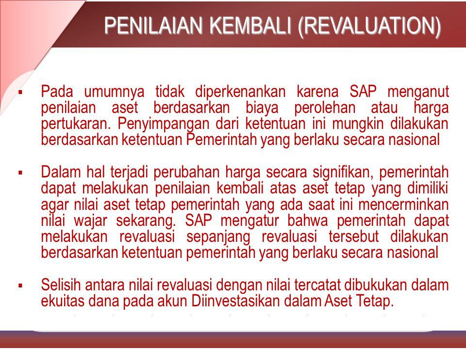 PENILAIAN KEMBALI (REVALUATION)  Pada umumnya tidak diperkenankan karena SAP menganut penilaian aset berdasarkan biaya perolehan atau harga pertukaran.