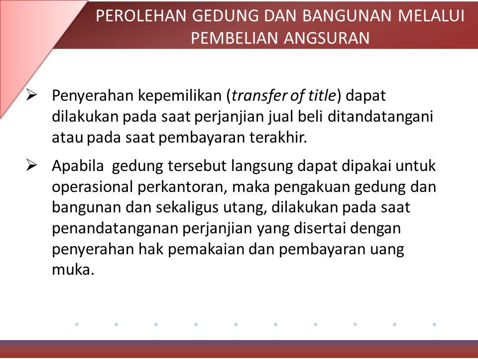 PEROLEHAN GEDUNG DAN BANGUNAN MELALUI PEMBELIAN ANGSURAN  Penyerahan kepemilikan (transfer of title) dapat dilakukan pada saat perjanjian jual beli ditandatangani atau pada saat pembayaran terakhir.