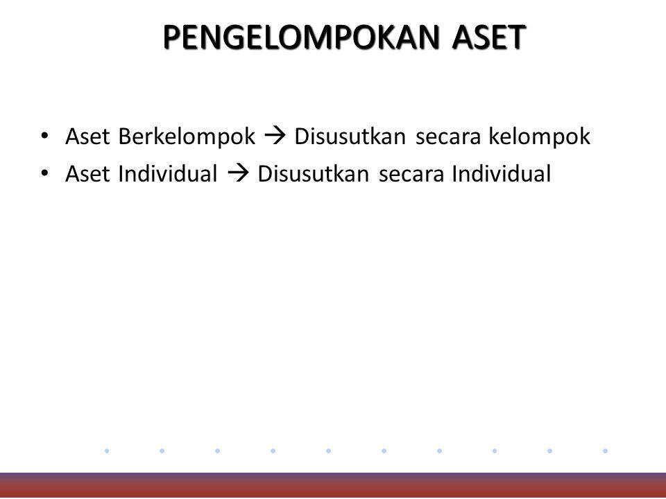 PENGELOMPOKAN ASET Aset Berkelompok  Disusutkan secara kelompok Aset Individual  Disusutkan secara Individual