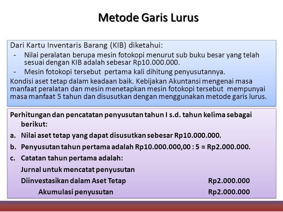 Metode Garis Lurus Dari Kartu Inventaris Barang (KIB) diketahui: -Nilai peralatan berupa mesin fotokopi menurut sub buku besar yang telah sesuai dengan KIB adalah sebesar Rp10.000.000.