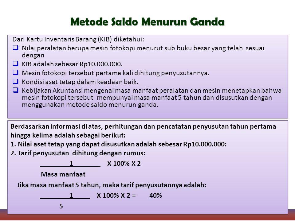 Dari Kartu Inventaris Barang (KIB) diketahui:  Nilai peralatan berupa mesin fotokopi menurut sub buku besar yang telah sesuai dengan  KIB adalah sebesar Rp10.000.000.