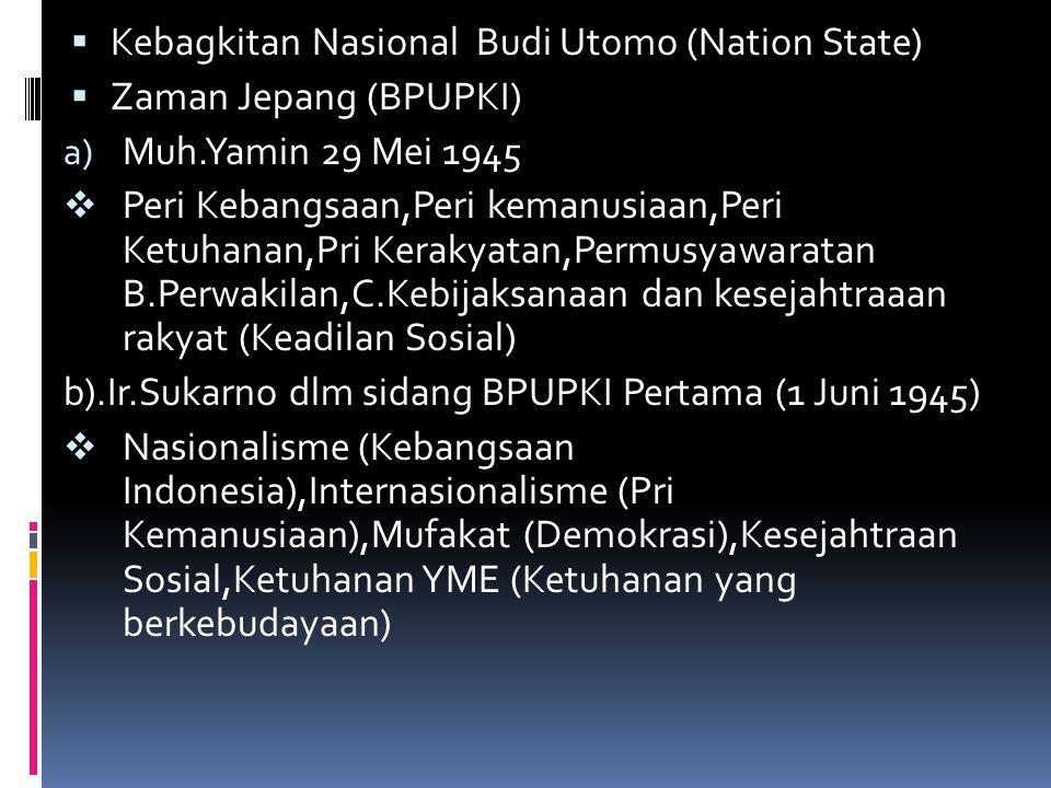  Kebagkitan Nasional Budi Utomo (Nation State)  Zaman Jepang (BPUPKI) a) Muh.Yamin 29 Mei 1945  Peri Kebangsaan,Peri kemanusiaan,Peri Ketuhanan,Pri Kerakyatan,Permusyawaratan B.Perwakilan,C.Kebijaksanaan dan kesejahtraaan rakyat (Keadilan Sosial) b).Ir.Sukarno dlm sidang BPUPKI Pertama (1 Juni 1945)  Nasionalisme (Kebangsaan Indonesia),Internasionalisme (Pri Kemanusiaan),Mufakat (Demokrasi),Kesejahtraan Sosial,Ketuhanan YME (Ketuhanan yang berkebudayaan)