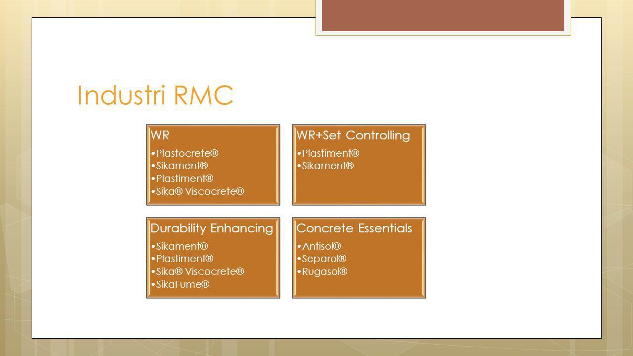 Industri RMC WR Plastocrete® Sikament® Plastiment® Sika® Viscocrete® WR+Set Controlling Plastiment® Sikament® Durability Enhancing Sikament® Plastimen