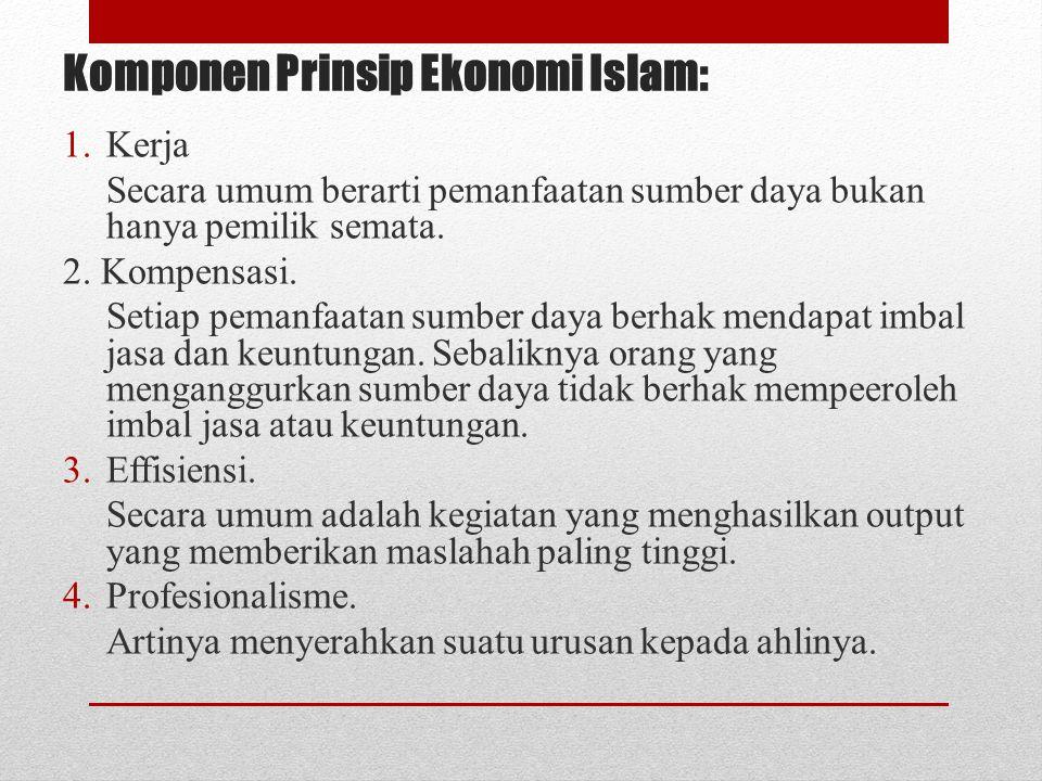 Komponen Prinsip Ekonomi Islam: 1.Kerja Secara umum berarti pemanfaatan sumber daya bukan hanya pemilik semata. 2. Kompensasi. Setiap pemanfaatan sumb