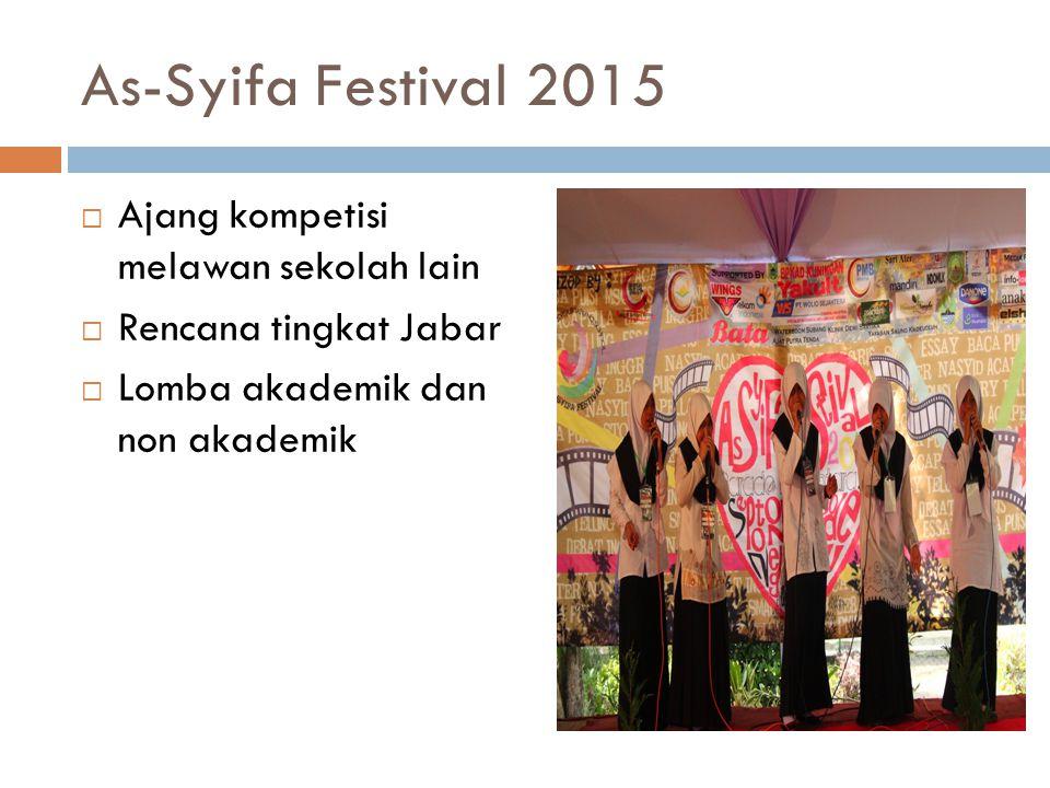 As-Syifa Festival 2015  Ajang kompetisi melawan sekolah lain  Rencana tingkat Jabar  Lomba akademik dan non akademik