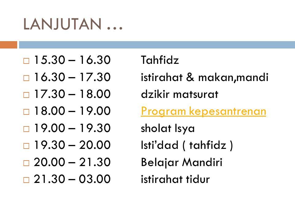 LANJUTAN …  15.30 – 16.30Tahfidz  16.30 – 17.30istirahat & makan,mandi  17.30 – 18.00dzikir matsurat  18.00 – 19.00Program kepesantrenanProgram ke