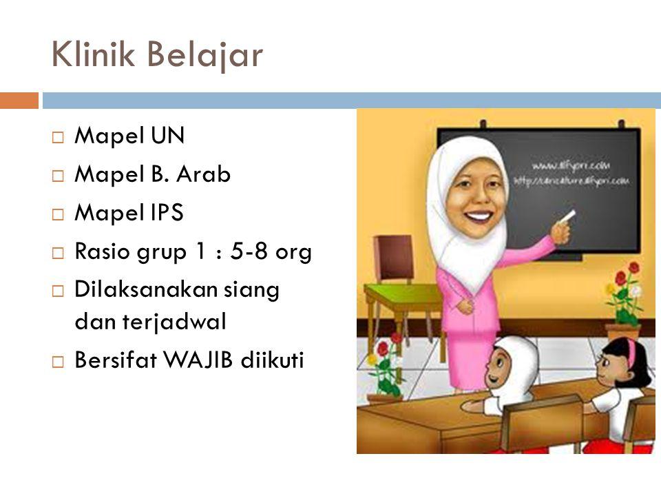 Klinik Belajar  Mapel UN  Mapel B. Arab  Mapel IPS  Rasio grup 1 : 5-8 org  Dilaksanakan siang dan terjadwal  Bersifat WAJIB diikuti