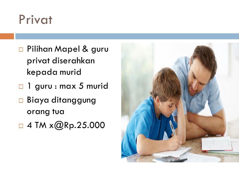 Privat  Pilihan Mapel & guru privat diserahkan kepada murid  1 guru : max 5 murid  Biaya ditanggung orang tua  4 TM x@Rp.25.000