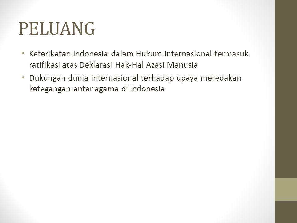 PELUANG Keterikatan Indonesia dalam Hukum Internasional termasuk ratifikasi atas Deklarasi Hak-Hal Azasi Manusia Dukungan dunia internasional terhadap