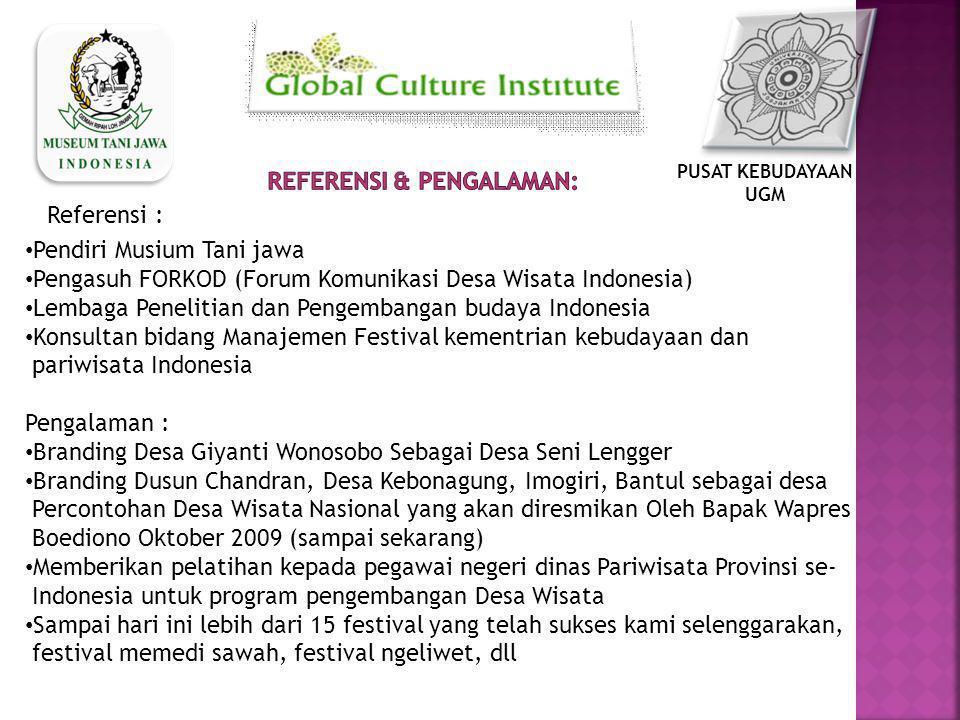 Pendiri Musium Tani jawa Pengasuh FORKOD (Forum Komunikasi Desa Wisata Indonesia) Lembaga Penelitian dan Pengembangan budaya Indonesia Konsultan bidan
