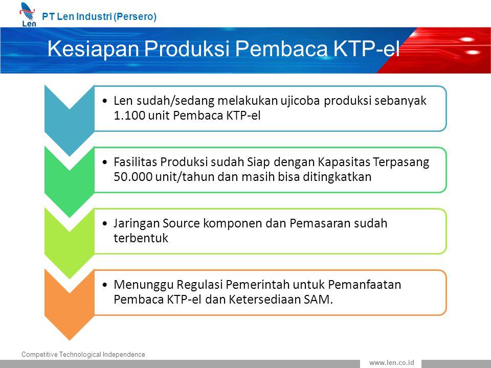 PT Len Industri (Persero) Competitive Technological Independence www.len.co.id Kesiapan Produksi Pembaca KTP-el Len sudah/sedang melakukan ujicoba pro
